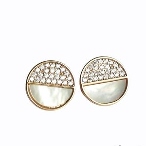Rose Gold Art Deco cz mother of pearl earrings